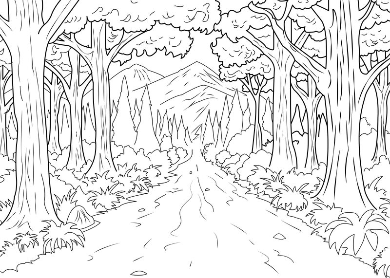 forest of trees coloring pages - photo#14
