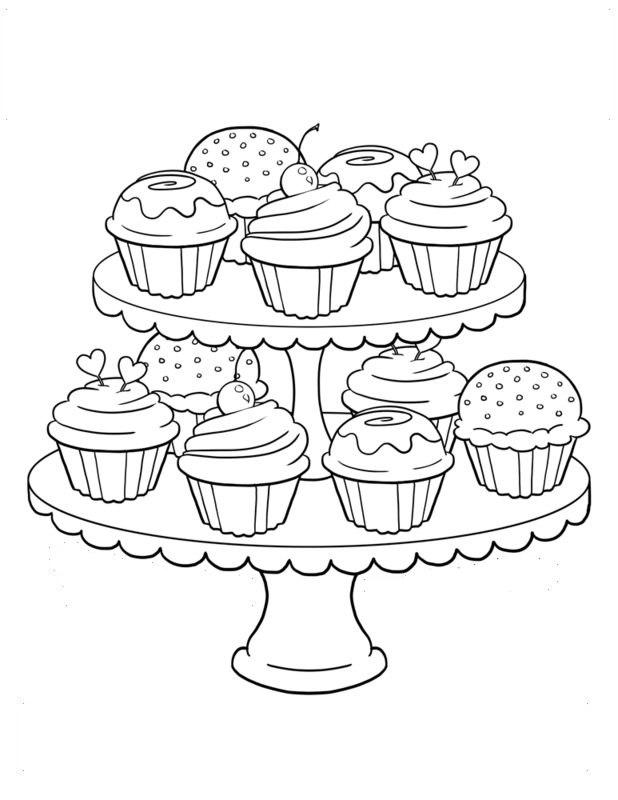 Cupcake Ausmalbilder für Erwachsene kostenlos zum Ausdrucken 3