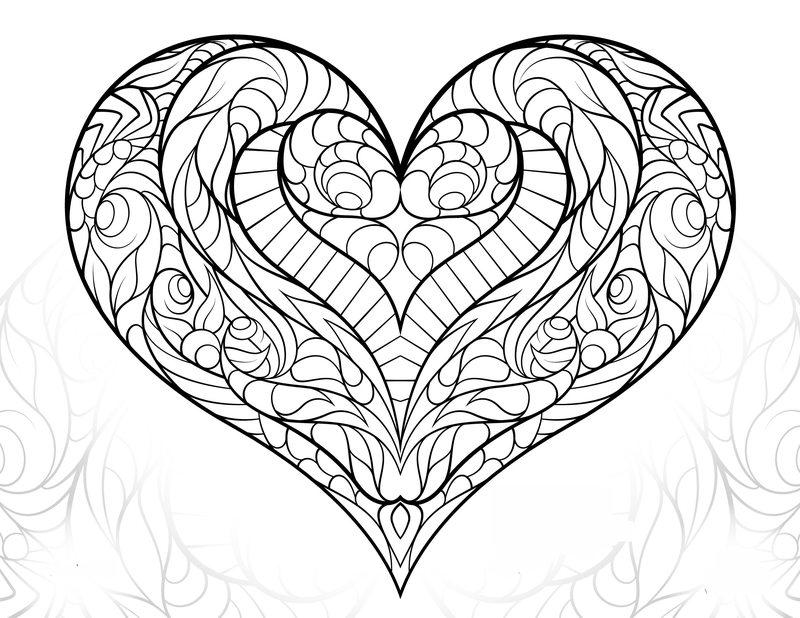 Раскраска сердечки красивые