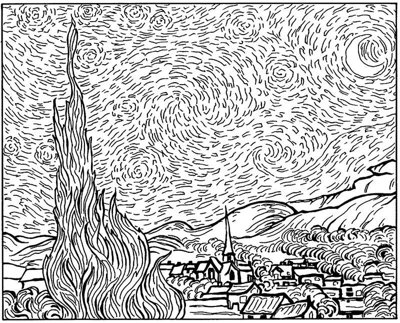 Van Gogh Ausmalbilder für Erwachsene kostenlos zum Ausdrucken 2