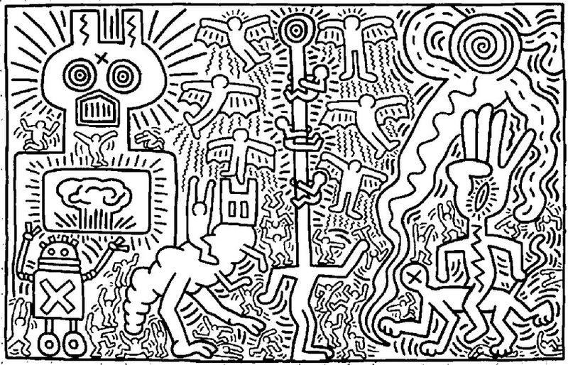 Keith Haring Ausmalbilder fr Erwachsene kostenlos zum Ausdrucken 2