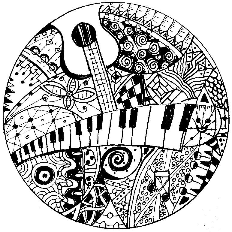 Musik Ausmalbilder für Erwachsene kostenlos zum Ausdrucken 2