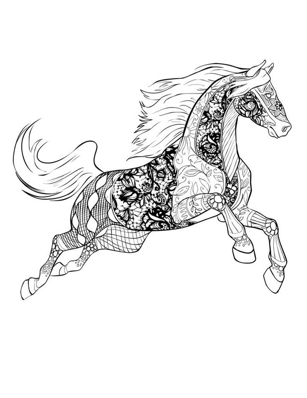 Pferde Ausmalbilder für Erwachsene kostenlos zum Ausdrucken, Teil 1