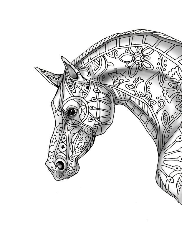 Pferde Ausmalbilder für Erwachsene kostenlos zum Ausdrucken, Teil 2