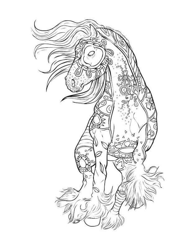 Friesian horse printing pictures coloring pages ~ Pferde Ausmalbilder für Erwachsene kostenlos zum ...