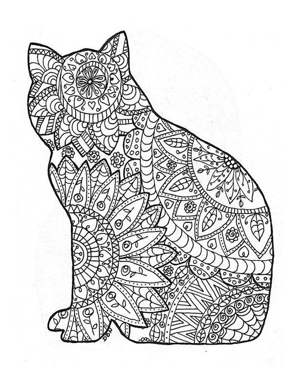 Katzen Ausmalbilder für Erwachsene kostenlos zum Ausdrucken, Teil 1