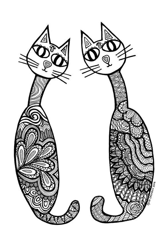 Katzen Ausmalbilder F 252 R Erwachsene Kostenlos Zum